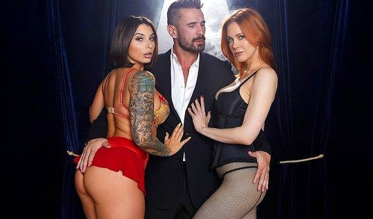 Татуированная брюнетка и рыжая девица любят групповой секс...