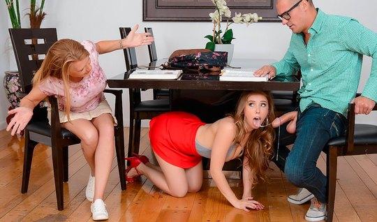 Муж изменяет своей жене с ее молодой сестрой студенткой на кровати...