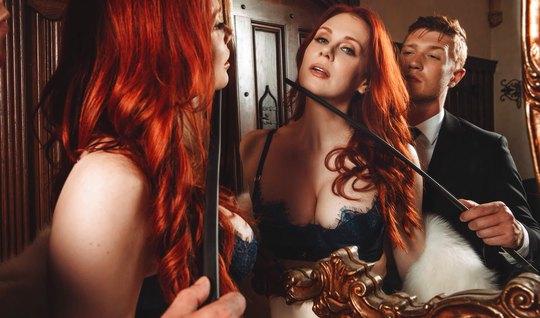 Рыжая дамочка и ее строгий Хозяин занимаются жестким сексом...